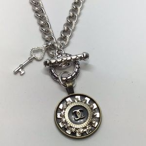 Silver/key designer button necklace